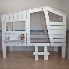 Kinderbett baumhütte  Jugendbett Kinderbett Kojenbett Bett Kiefer massiv weiss ...