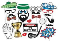 Golf Party Photo booth Props Set 22 Piece by TheQuirkyQuail
