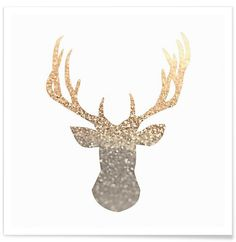 Gold Deer als Premium Poster