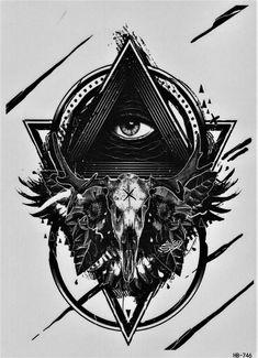 Auge der Vorsehung Dreieck Geweih Temporary Temporäre Klebe Einmal Tattoo 15 x 21 cm HB746