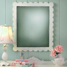 so pretty - love the scalloped edging on the mirror