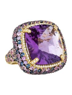 18K yellow Gold Judith RIPKA cocktail ring with faceted cushion-cut Amethyst (28.50 carat) at center and multicolor pavé Sapphires throughout. Estimated Retail: $6,500.00