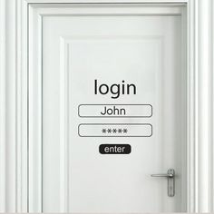 Wall art decal - Login and Password Don't click on ENTER = KNOCK ( the old fashioned way ) instead ‼️