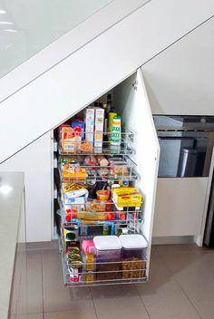Slide Out Pantry Storage Under Stairs #pantry #pantryorganization #stainlesssteel #storagesolutions