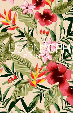 Tropical print.. from Fusion CPH print design studio from Copenhagen. We design all kind of prints for fashion and interior textiles. See some of our unique prints at Instagram: fusioncph or at www.fusioncph.com Mixed Prints, Surface Design, Copenhagen, Denmark, Print Design, Print Patterns, Scarves, Tropical, Textiles