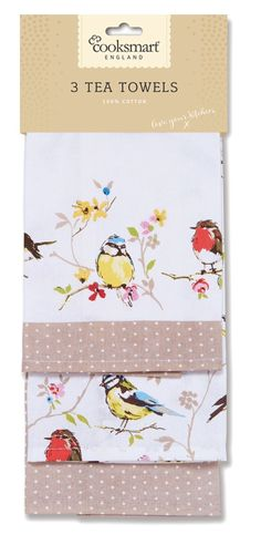Cooksmart Dawn Chorus Tea Towels, Pack of 3 Tea Towels, Packing, Cotton, Dawn, Kitchen, Bag Packaging, Dish Towels, Cooking, Kitchens