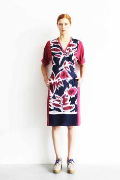Mantù Resort S/S13_Look 7  Ikat blue and ruby dress
