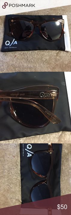 Quay mirrored cat eye sunglasses Brand new - comes with case purchased with. light brown/tan frame with mirrored lenses. Says Quay on the sides. Super cute for dressing up an outfit! Quay Australia Accessories Sunglasses