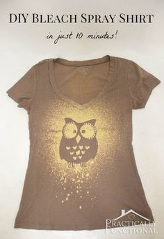 T-Shirt Makeovers - DIY Bleach Spray T-Shirt - Awesome Way to Upcycle Tees - Cool No Sew Tshirt Cutting Tutorials, Simple Summer Cutouts, How To Make Halter Tops and T-Shirt Dresses. Easy Tutorials and Instructions for Teens and Adults http:diyprojectsforteens.com/diy-tshirt-makeovers