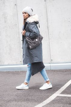 Nina rocks another winter classic here, in a super cosy grey parka, paired with distressed jeans and sneakers for a casual winter style. Wear this look with a beanie and minimal jewellery to steal Nina's aesthetic. Parka: Asos, Jeans: H&M, Sneakers:...