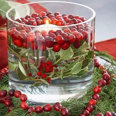 Here are 5 easy ways to make festive Christmas decorations with cranberries.
