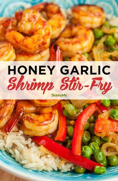 Honey Garlic Shrimp Stir Fry : Need a quick, easy, and satisfying recipe? This sweet and savory honey garlic shrimp stir fry makes dinner prep simple and fun, ideal for busy weeknights. Fish Recipes, Seafood Recipes, Asian Recipes, Healthy Dinner Recipes, Cooking Recipes, Stir Fry Dinner Recipes, Stir Fry Meal Prep, Clean Eating Recipes For Dinner, Simple Recipes