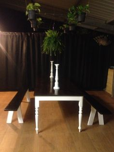 DIY outdoor table. We built this farmhouse style table using recycled legs and pine from bunnings. Love.