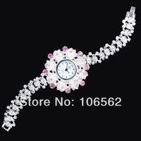 dress watch SKK Antique Silver Crystal Rhinestone Women Girls Lady Alloy Quartz Adjustable Wrist Watch Fashion Bracelet Gift