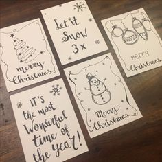 Cool to draw Christmas cards yourself! - Best ROUTINES for Healthy Happy Life Diy Holiday Cards, Xmas Cards, Diy Cards, Christmas Makes, Christmas Fun, Christmas Decorations Drawings, Karten Diy, Christmas Doodles, Jingle All The Way