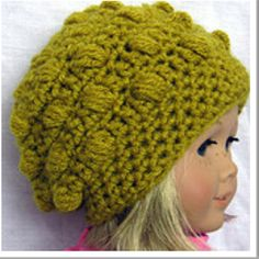 "Crochet hat for 18"" American Girl Doll. You can modify adult hat patterns to fit these dolls by using a size f hook and using less pattern repeats around center top."