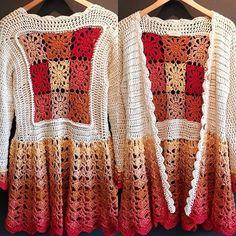 Rosarito (@rosaritostore) • Fotos y videos de Instagram Crochet Baby Dress Pattern, Crochet Jacket, Crochet Cardigan, Crochet Shawl, Knit Crochet, Knitting Patterns, Crochet Patterns, Crochet Granny, Yarn Over