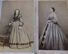 2 cdvs of women in hoop dresses by Keely Phila PA, Clark Troy NY