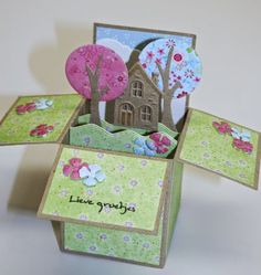 'card in a box' Card In A Box, Pop Up Box Cards, 3d Cards, Some Cards, Paper Cards, Fancy Fold Cards, Folded Cards, Exploding Box Card, Album Scrapbook