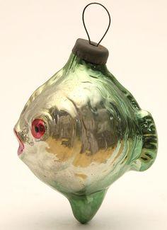 Antique glass fish ornament - (Coastal Christmas, nautical, ocean, beach, fish, sea, holiday, decor)