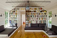 I would love to have something like this in my home.  For all my books, a place just to relax and read!