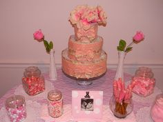 Vintage pink shower with easy candies/set up.