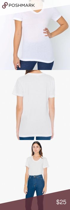 American Apparel Poly Cotton White Tee BNWOT - sold out online. American Apparel is going out of business so I cannot return this item. Never worn and brand new. Super soft and stretchy. Retails for $32. $25 + free shipping via 🅿️🅿️. Also available in black American Apparel Tops Tees - Short Sleeve