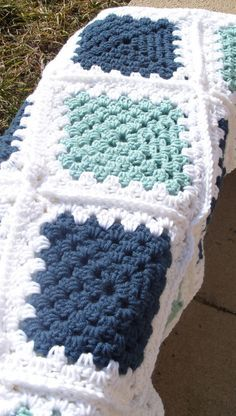 Items similar to Crochet Afghan Blue, Green,White Granny Square/Granny Square Afghan/Handmade Blanket/Granny Square Blanket/Lapghan/Granny Square Lapghan on Etsy Crochet Squares, Crochet Blanket Border, Granny Square Crochet Pattern, Crochet Blanket Patterns, Crochet Granny, Knit Crochet, Afghan Crochet, Crochet Crafts, Crochet Projects