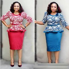 Womens Plus Size Dress Tops Skirt Set Bodycon Cocktail Office Wear Floral Latest African Fashion Dresses, African Print Fashion, African Traditional Dresses, Traditional Outfits, African Attire, African Dress, African Clothes, Dress Outfits, Fashion Outfits