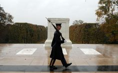 Image detail for -This handout photo provided by the us Army shows Spc. Brett Hyde, Tomb Sentinel, 3d U.S. Infantry Regiment (The Old Guard), keeping guard over the Tomb...