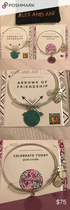 2 Alex and Ani Charity by Design Bracelets 2 shiny silver Alex and Ani by charity by design. Will send them with their boxes, cloth bags and with the paper explaining the meaning etc. In super good conditions only worn twice. So practically NEW☺️ Alex & Ani Jewelry Bracelets
