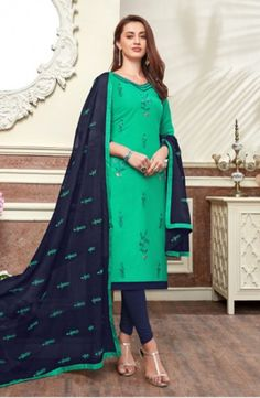 Buy This Daily Wear Pista Green Cotton Embroidery Work Churidar Suit Online Shopping Salwar Suits Pakistani, Churidar Suits, Salwar Suits Party Wear, Cotton Salwar Kameez, Wholesale Clothing, Cheap Wholesale, Indian Ethnic Wear, How To Dye Fabric, Festival Wear