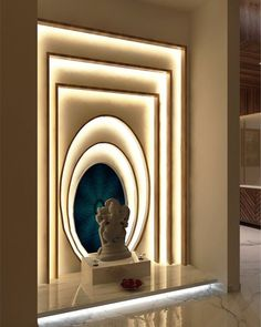 Home Design, Temple Design For Home, Wall Design, Design Design, Pooja Room Door Design, Door Design Interior, Lobby Interior, Home Entrance Decor, Home Decor