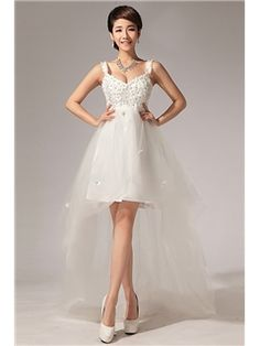 Amazing A-line Straps Flowers Asymmetrical Wedding Dress