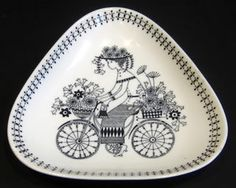Arabia of Finland Pottery Emilia Bicycle Flower Girl Triangular Dish Inch Mid Century Modern Paint Your Own Pottery, Painted Plates, Teapots And Cups, Plate Design, Modern Ceramics, Pottery Studio, Ceramic Painting, Scandinavian Design, Ceramic Pottery