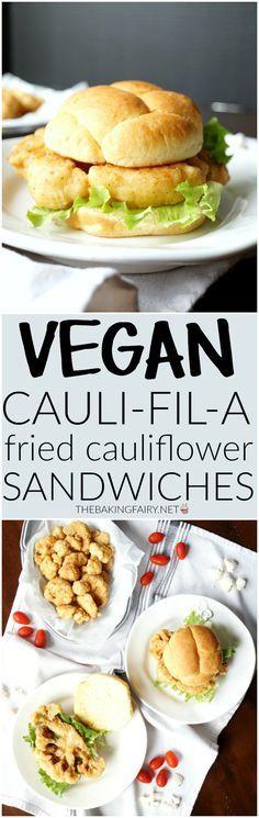 vegan cauli-fil-a sandwiches | The Baking Fairy Vegan Lunches, Vegan Dinners, Going Vegan, Sans Gluten, Vegetarian Diets, Vegan Foods, Vegetarian Recipes, Healthy Recipes, Cooking Recipes