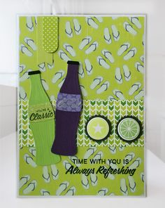 Card soft drink soda bottle, refreshing cool time, MFT soda pop bottles Die-namics MFT-764, MFT Bottlecaps MFT-754 Die-namics, MFT Soda Pop stamp set, banner elements from MFT Blueprints 31 Die-namics #mftstamps  Echo Park Beach Day  paper pad - JKE