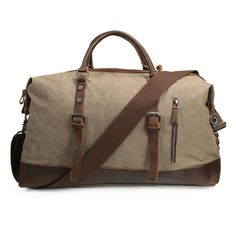cf24be4187 ECOSUSI Vintage Canvas Sport Tote Gym Bag Overnight Shoulder Bag Weekend Travel  Duffel Bag Coffee    Continue to the product at the image link.