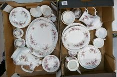 Patterned items including coffee pots, sandwich plates, cups, servers etc, (mostly seconds) trays). Next Sale, The Saleroom, Lavender Roses, Wine And Spirits, Royal Albert, Wines, Decorative Plates, Pottery, Collection