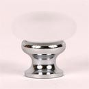 """Lew's Hardware [35-201] Glass Cabinet Knob - Mushroom Series - Frosted Clear - Polished Chrome Base - 1 1/4"""" Dia."""
