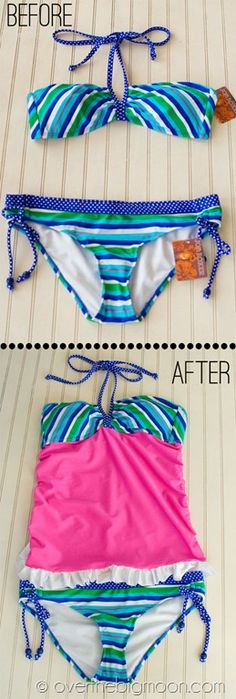 Turn a Bikini into a Tankini. Super easy tutorial. Brilliant!