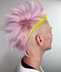 Gorgeous Pink & Neon Yellow Colors for Mohawk Pixie haircuts in 2019 - All For Hair Color Trending Beautiful Hair Color, Cool Hair Color, Neon Hair, Pink Hair, Yellow Hair Color, Neon Yellow, Hair Color Placement, Blood Red Hair, Types Of Hair Color