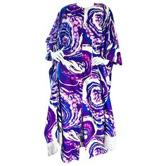 1970s Liberty House Fringe Op Art Blue and Purple Caftan Maxi Dress   From a collection of rare vintage caftans at https://mario.1stdibs.com/fashion/clothing/evening-dresses/caftans/