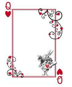 alice in wonderland playing cards printable notepads - Google Search