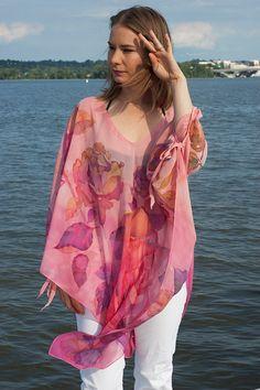 Silk Tunic Caftan Dress Hand Painted Kaftan Pink Roses Ladybug Batterflies One Size Custom Order