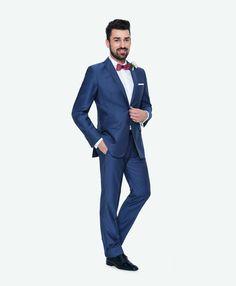 73ecbac5af349 Kolekcja ślubna Giacomo Conti: niebieski garnitur na ślub (100% wełna,  model Marco