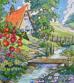 "Tranquil Cottage Storybook Cottage Series"" - by Alida Akers"