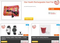 Daily Deals ...!!!  Rechargeable Heat Pad at Rs. 349 | VOX V1 Plus Mobile at Rs. 1034 | Pack of Top and Lower at Rs. 448 & many more exciting offers ..!!  Hurry up .. !!