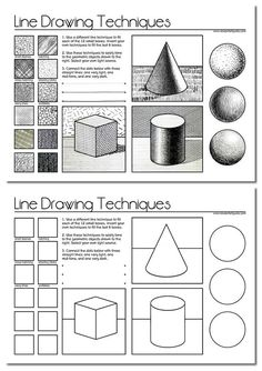 This worksheet introduces a range of line drawing techniques and encourages students to invent their own (such as using the first letter of their name). It allows students to practise using these techniques and to apply tone to a range of simple geometric objects.