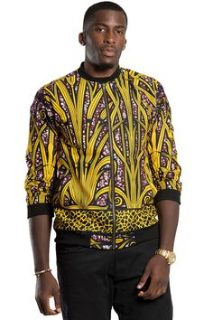 Spice up your look with this stylish African print bomber jacket. Pair it with a jeans or black pants and you are good to go.For both Men and cotton African Print f. African Fashion Designers, African Print Fashion, Africa Fashion, African Prints, Ethnic Fashion, African Attire, African Wear, African Outfits, African Style